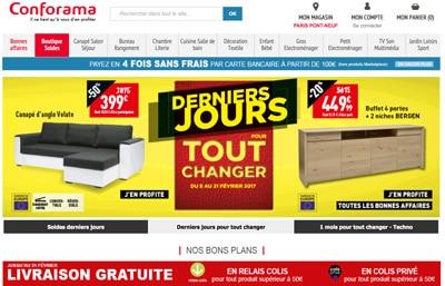 conforama les derniers jours des soldes avec la livraison gratuite. Black Bedroom Furniture Sets. Home Design Ideas