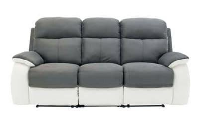 Canape relaxation fixe 3 places white et gris