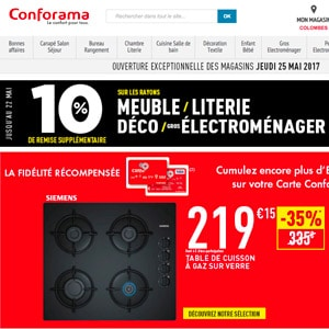 code promo conforama 10 de r duction avec livraison gratuite. Black Bedroom Furniture Sets. Home Design Ideas