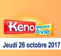 résultat keno du 26 octobre 2017