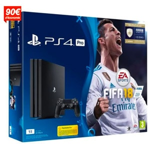 ps4 pro 1 to avec fifa 18 en promotion prix pas cher chez. Black Bedroom Furniture Sets. Home Design Ideas