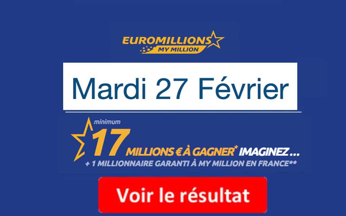 résultat euromillions mardi 27 Février 2018