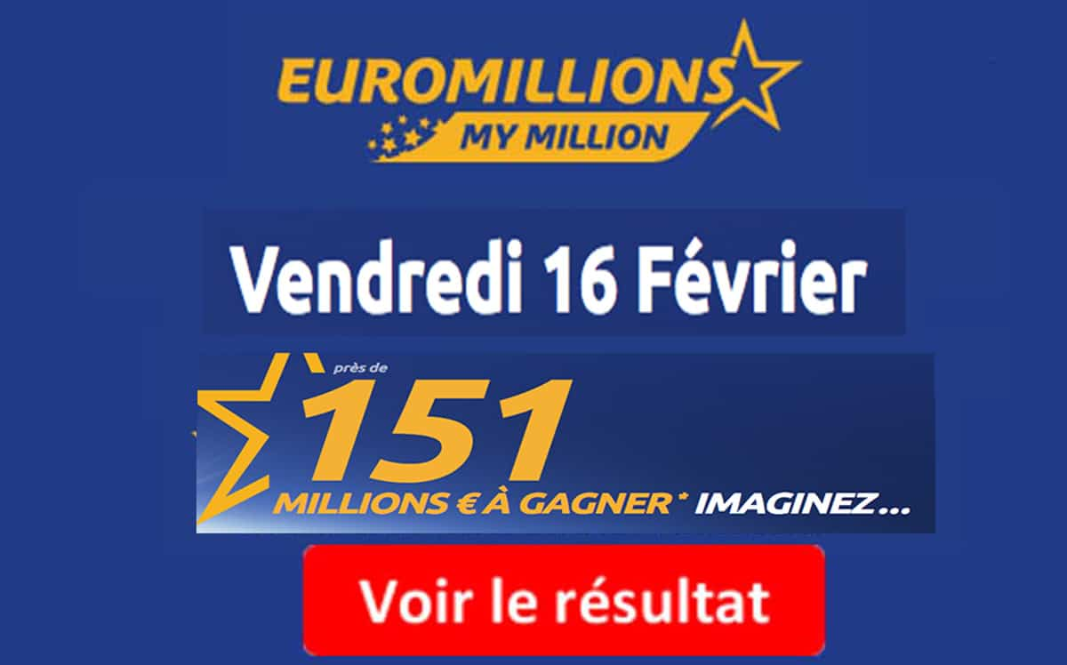 r sultat euromillions my million fdj tirage vendredi 16 f vrier 2018. Black Bedroom Furniture Sets. Home Design Ideas