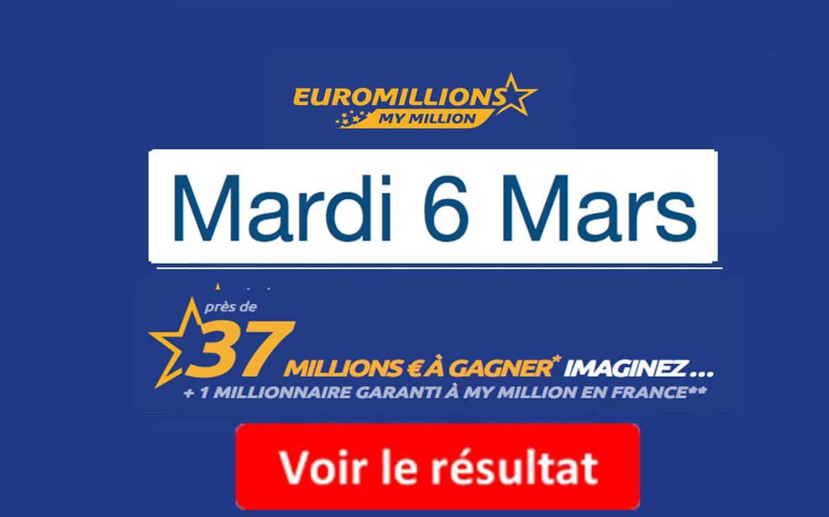 résultat euromillions mardi 6 mars 2018