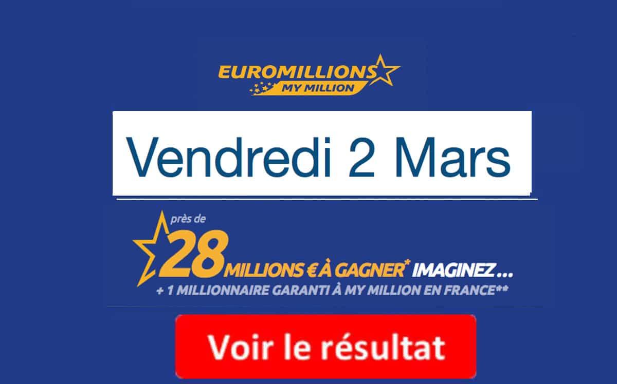 résultat euromillions vendredi 2 mars 2018