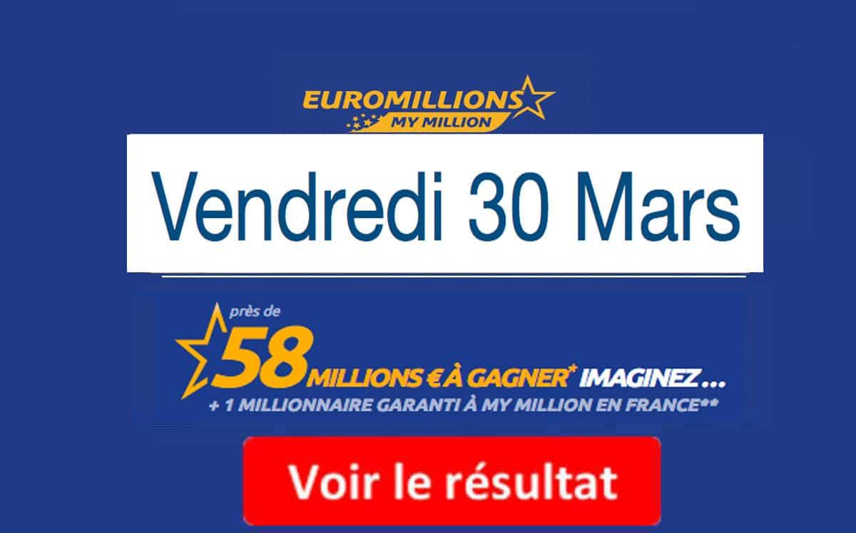 résultat euromillions vendredi 30 mars 2018