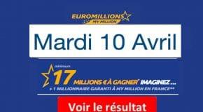 Résultat Euromillions, My Million (FDJ) tirage Mardi 10 avril 2018 [En Ligne]