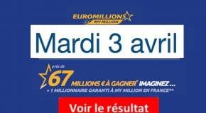 Résultat Euromillions, My Million (FDJ) tirage Mardi 3 Avril 2018 [En Ligne]