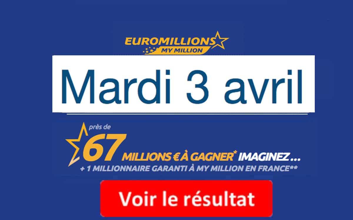 résultat euromillions mardi 3 avril 2018