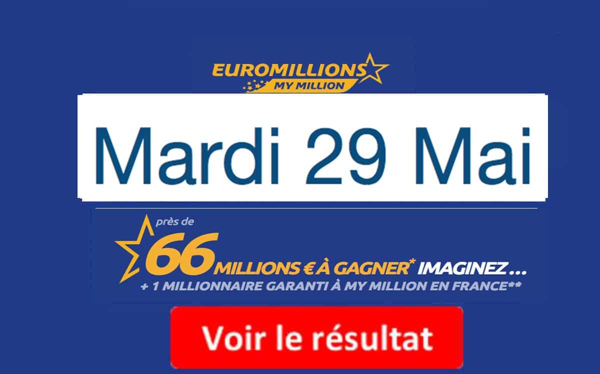 résultat euromillions mardi 29 mai 2018