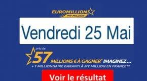 Résultat Euromillions, My Million (FDJ) tirage du Vendredi 25 Mai 2018 [En Ligne]