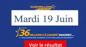 Résultat Euromillions, My Million (FDJ) tirage du Mardi 19 Juin 2018 [En Ligne]