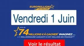 Résultat Euromillions, My Million (FDJ) du Vendredi 01 Juin 2018 [En Ligne]