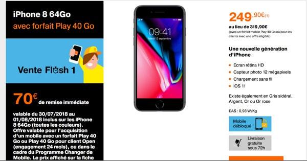orange mobile vente flash iphone 8 64go pas cher en promotion. Black Bedroom Furniture Sets. Home Design Ideas