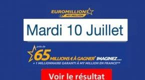 Résultat Euromillions, My Millions (FDJ) tirage du Mardi 10 juillet 2018 [En Ligne]