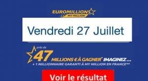 Résultat Euromillions, My Million (FDJ) tirage Vendredi 27 Juillet 2018 [En Ligne]