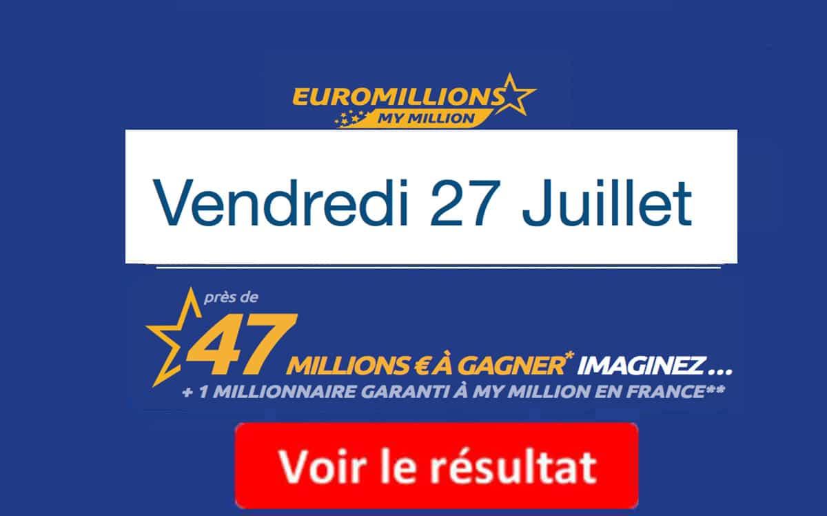 résultat euromillions du mardi 27 juillet 2018