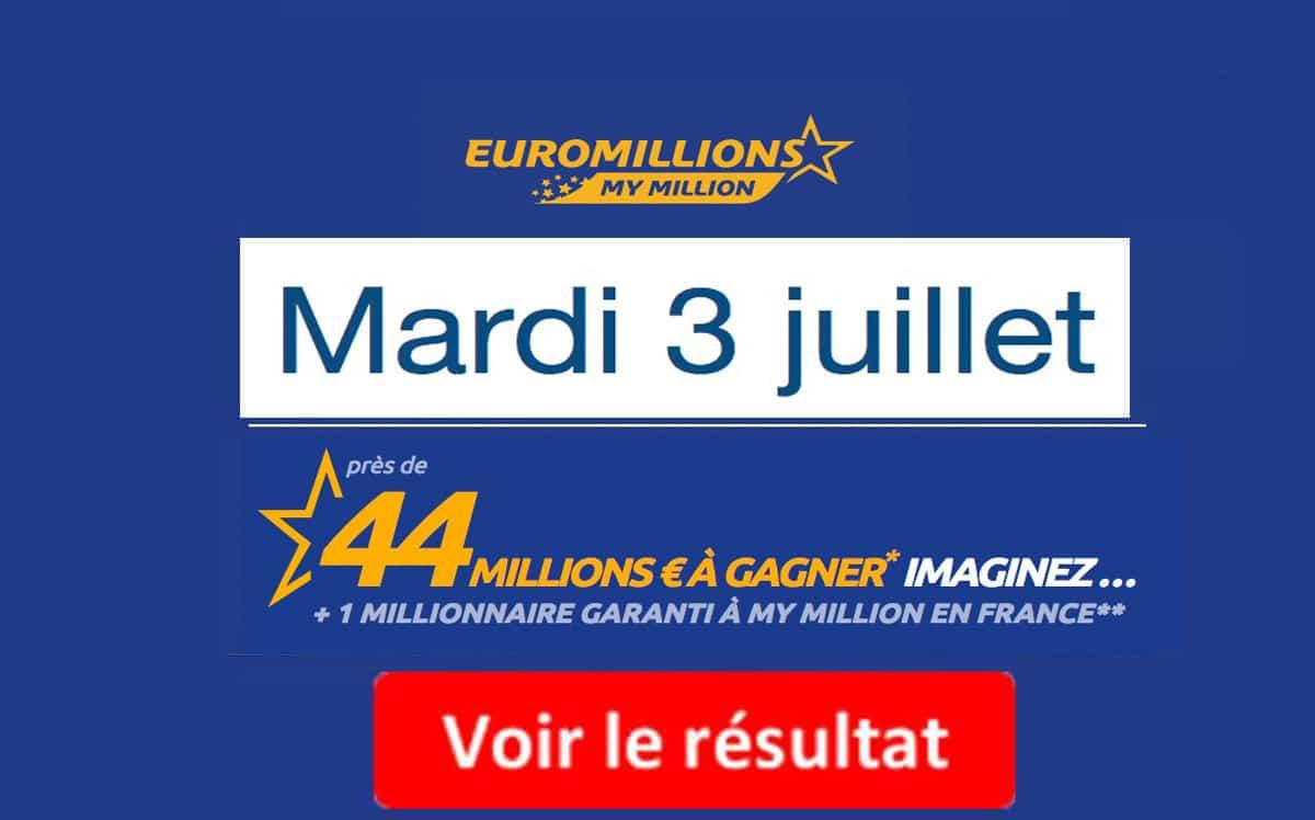 résultat euromillions mardi 3 juillet 2018