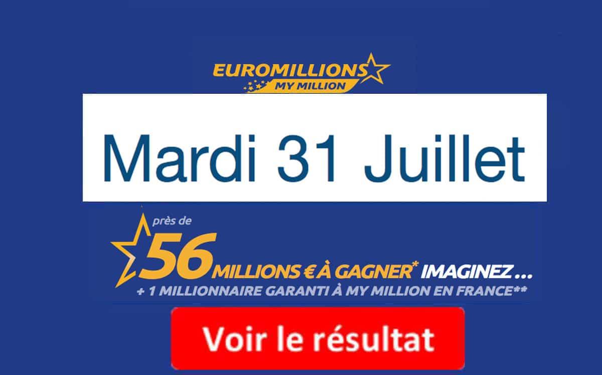 résultat euromillions mardi 31 Juillet 2018