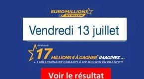 Résultat Euromillions et My Million (FDJ) du vendredi 13 Juillet 2018 [En Ligne]