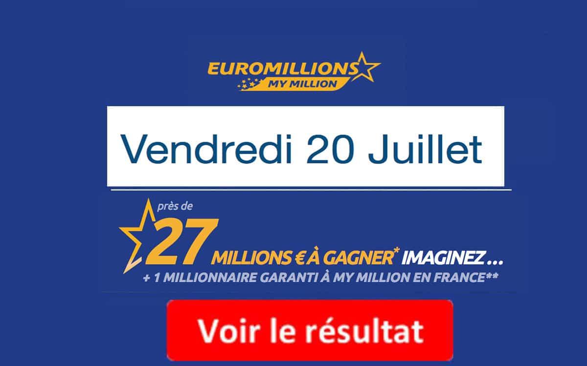 résultat euromillions 20 juillet 2018