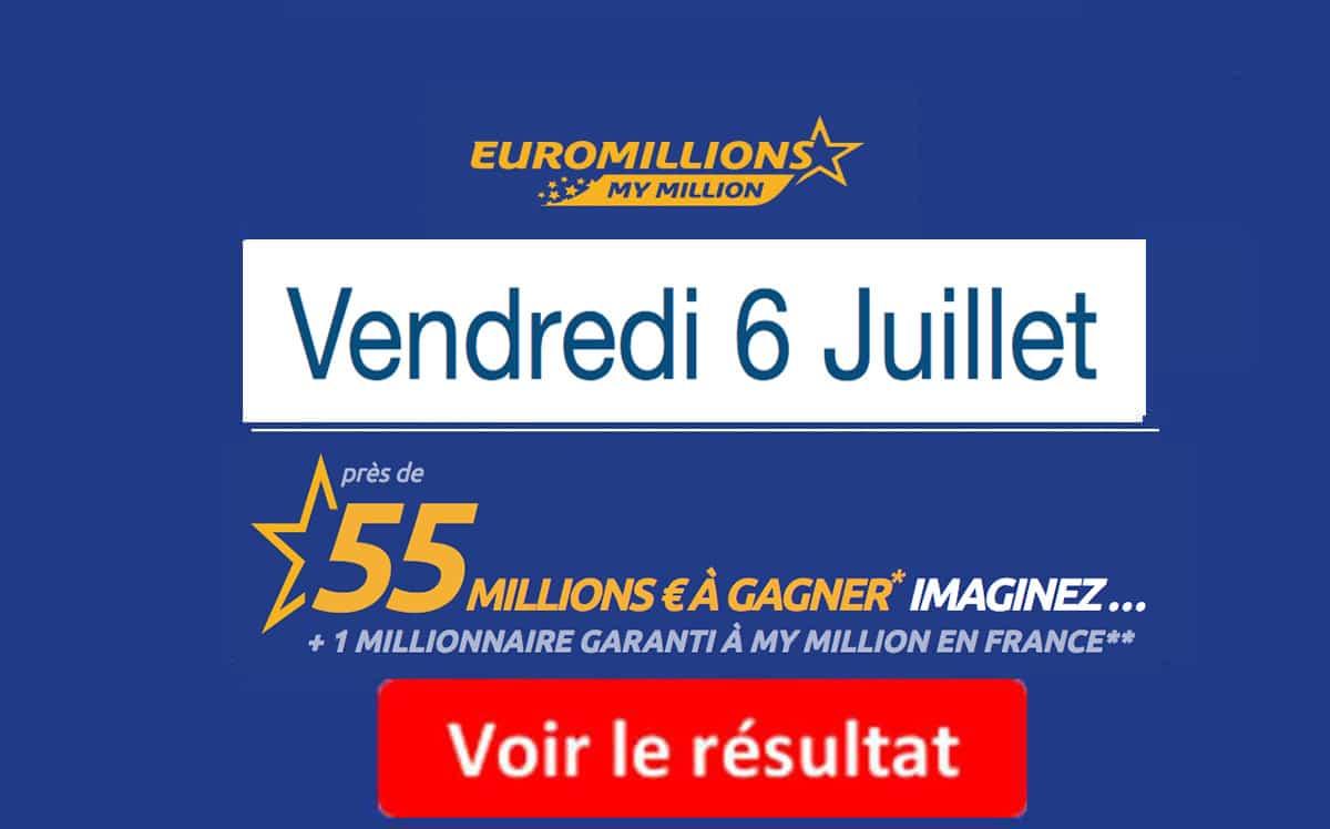 résultat euromillions vendredi 6 juillet 2018