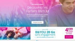 Promo Forfait Bouygues B&YOU à 4.99€ par mois pour 20Go de data ici
