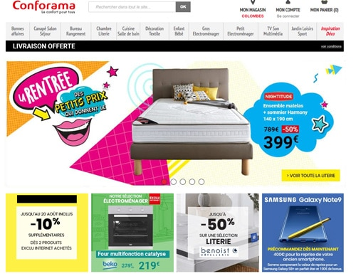 conforama code promo de 10 plus livraison gratuite. Black Bedroom Furniture Sets. Home Design Ideas