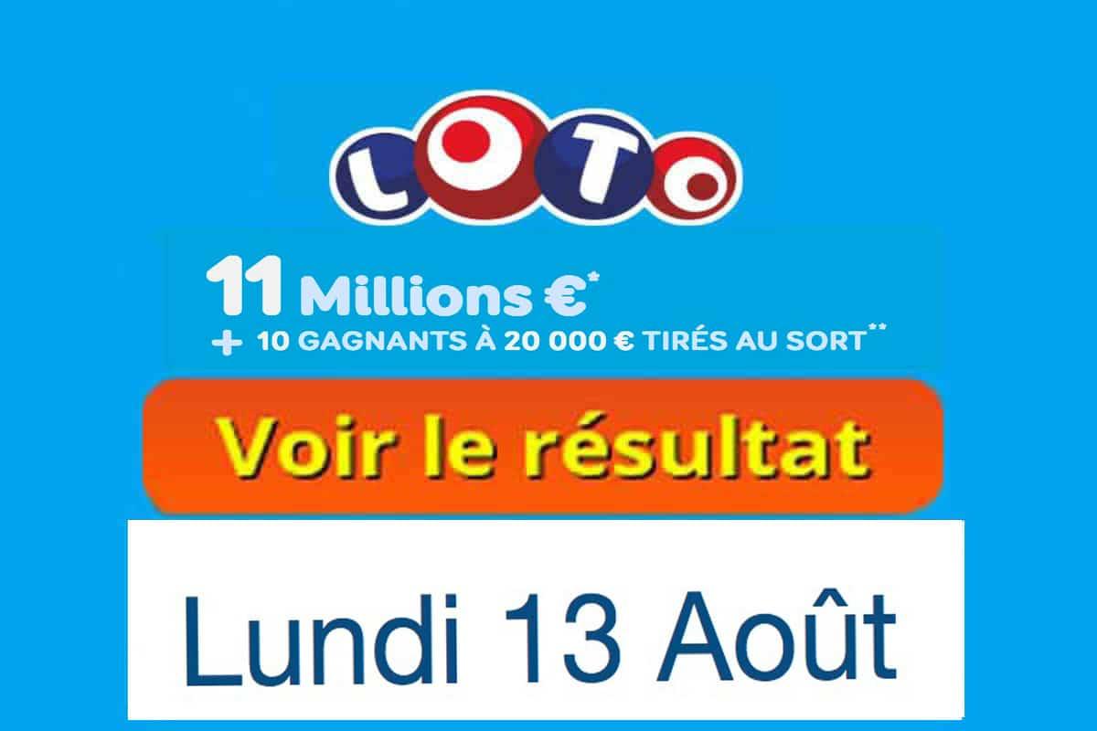 résultat loto 13 aout 2018