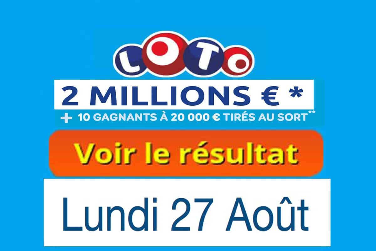 résultat loto 27 aout 2018