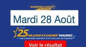 Résultat Euromillions, My Million (FDJ) tirage Mardi 28 Août 2018 [En Ligne]