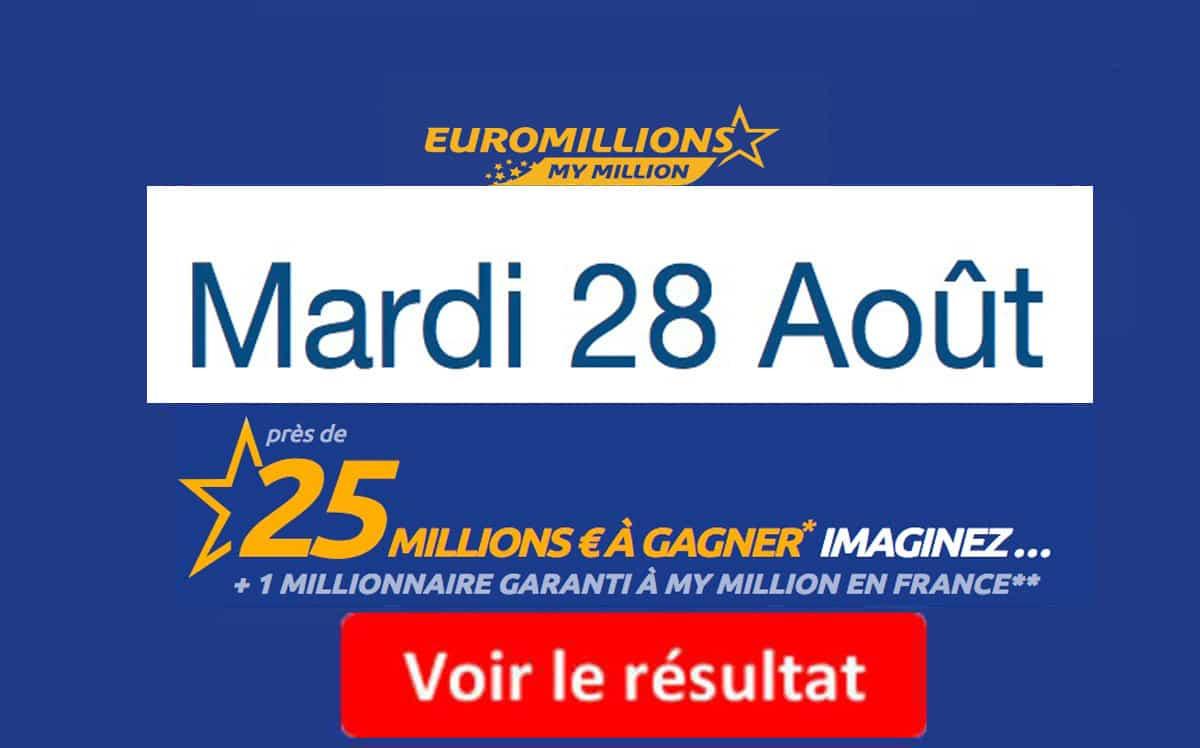 résultat euromillions mardi 28 aout 2018