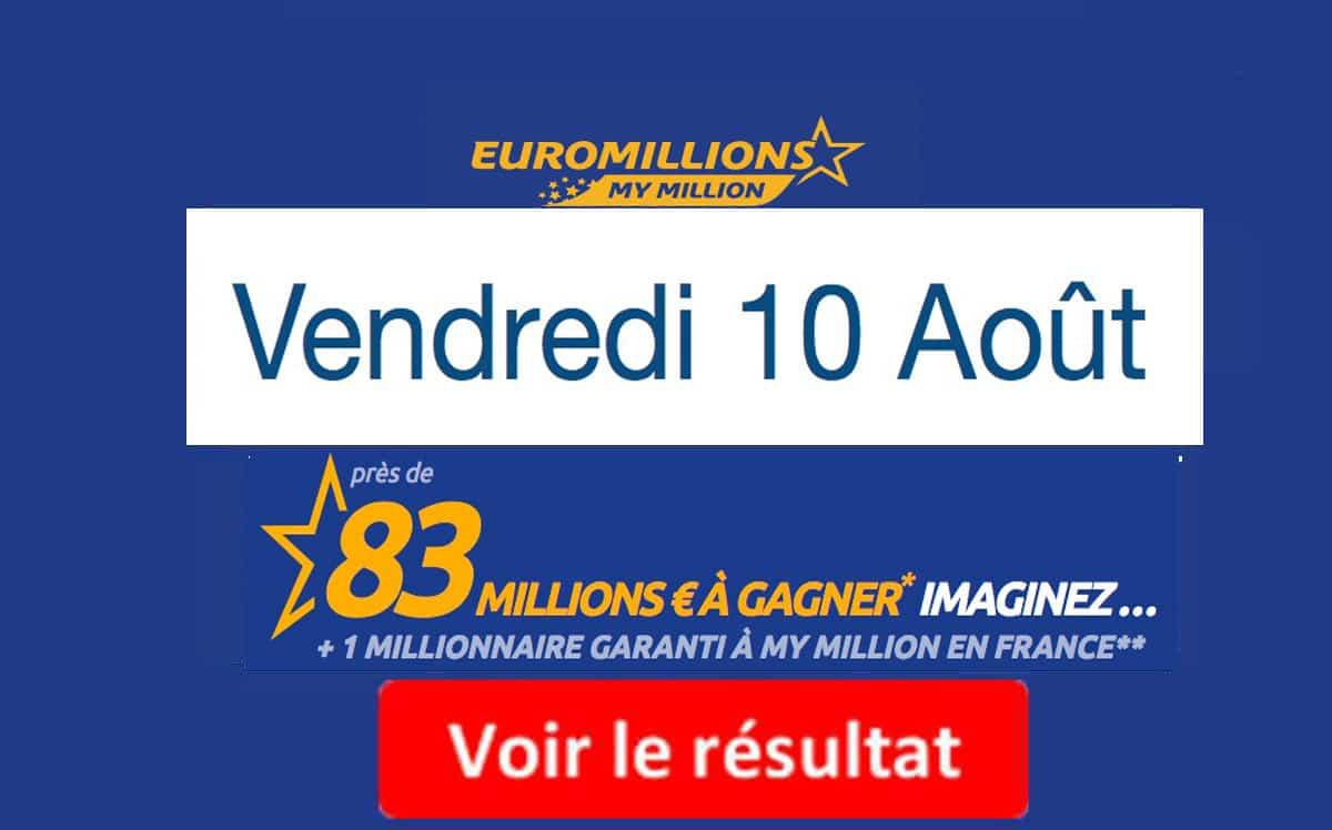 résultat euromillions 10 aout 2018