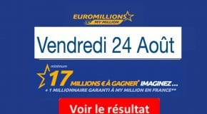 Résultat Euromillions et My Million (FDJ) vendredi 24 Août 2018 [En Ligne]