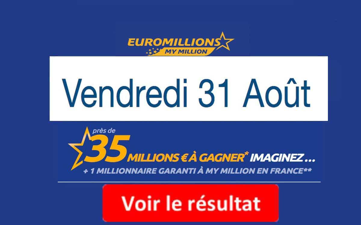 résultat euromillions 31 aout 2018
