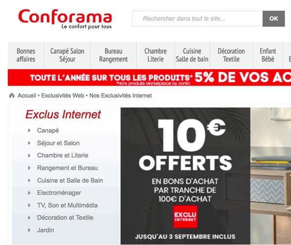 conforama offre promotionnelle et bon d 39 achat ne pas rater ici. Black Bedroom Furniture Sets. Home Design Ideas
