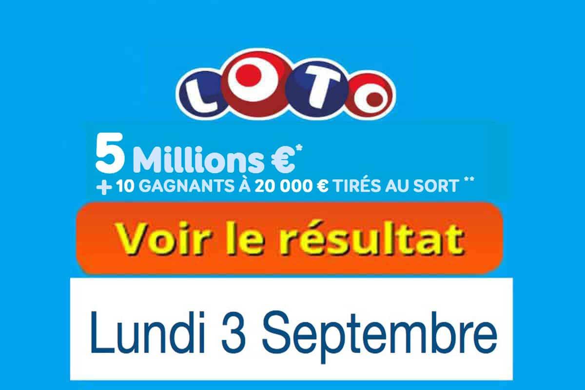 résultat loto 3 septembre 2018