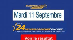 Résultat Euromillions, My Million (FDJ) tirage du Mardi 11 Septembre 2018 [En Ligne]