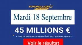 Résultat Euromillions, My Million (FDJ) du Mardi 18 Septembre 2018 [En Ligne]