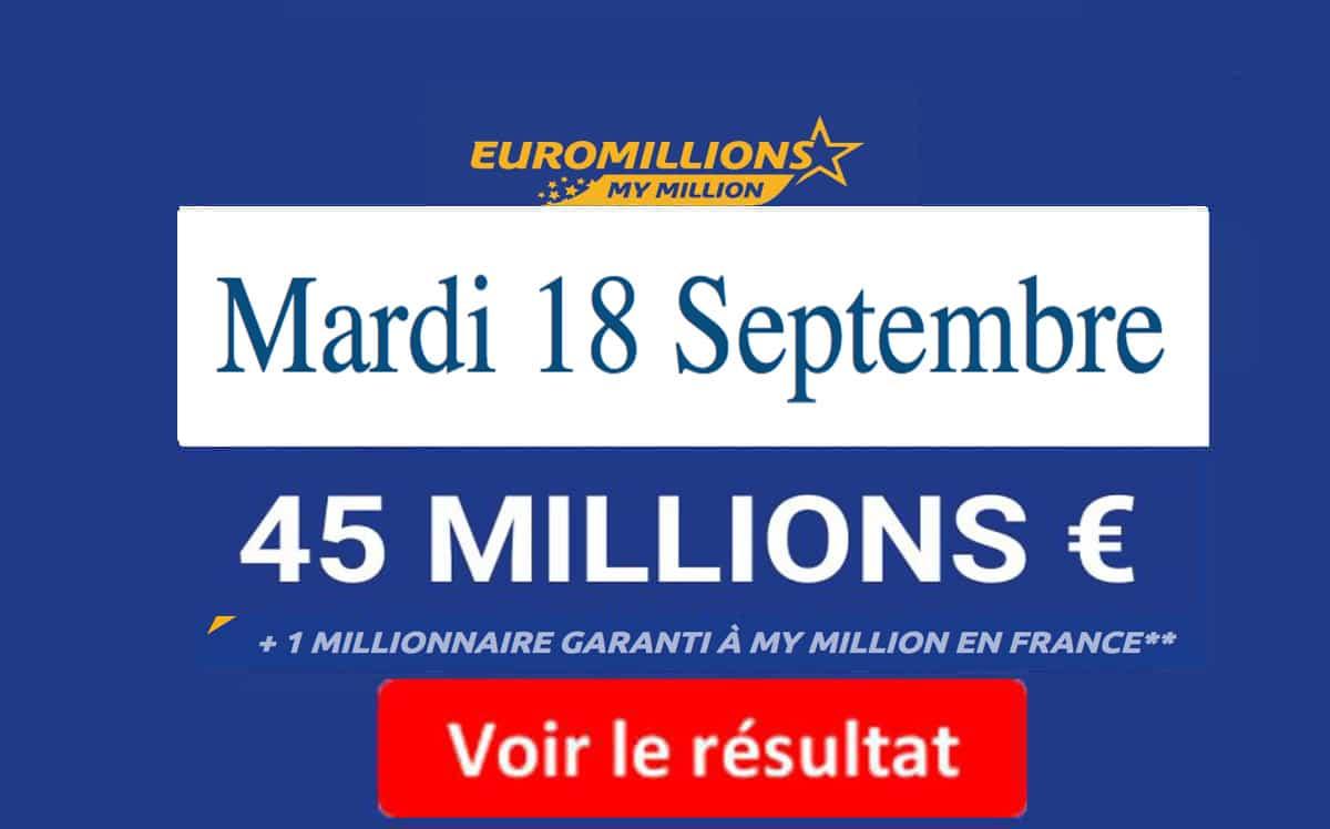 résultat euromillions Mardi 18 Septembre 2018