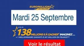 Résultat Euromillions, My Million (FDJ) du Mardi 25 Septembre 2018 [En Ligne]