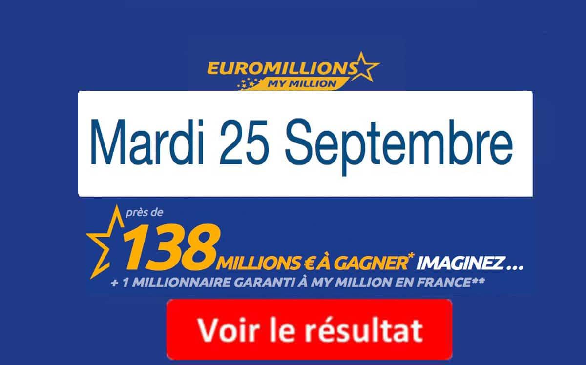 résultat euromillions mardi 25 septembre 2018