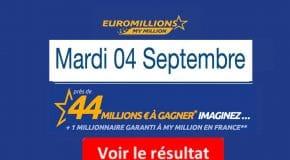 Résultat Euromillions et My million (FDJ) tirage Mardi 4 Septembre 2018 [En Ligne]