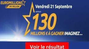 Résultat Euromillions, My Million (FDJ) tirage Vendredi 21 Septembre 2018 [En ligne]