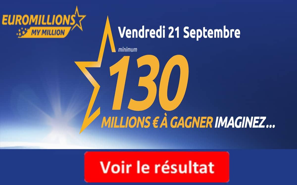 9e8501a0662827 Résultat Euromillions, My Million (FDJ) tirage Vendredi 21 Septembre ...
