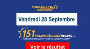 Résultat EuroMillions My Million (FDJ) tirage vendredi 28 Septembre 2018 [En Ligne]