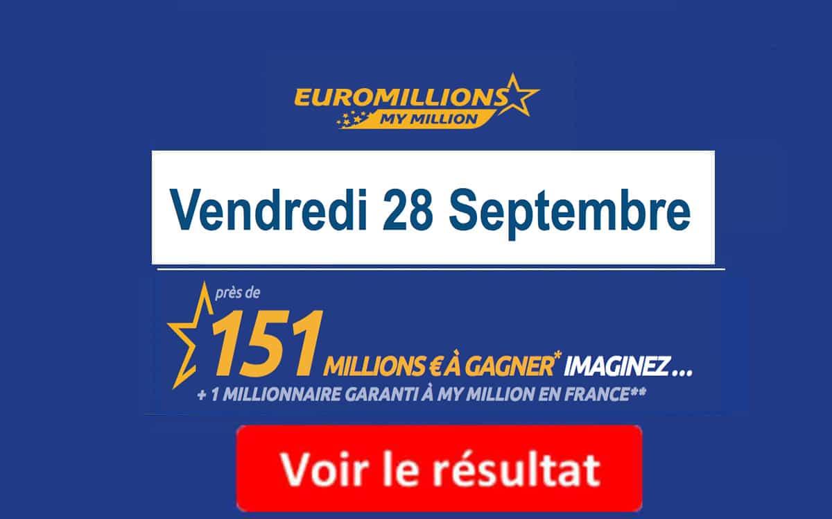 résultat euromillions vendredi 28 septembre 2018