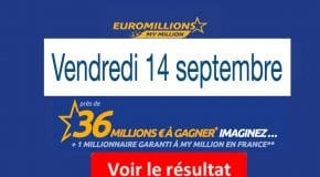Résultat Euromillions et My Million (FDJ) du Vendredi 14 Septembre 2018 [En Ligne]
