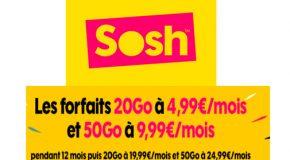 SOSH code promo : Forfait 20Go et 50Go à petit prix pendant 1 an