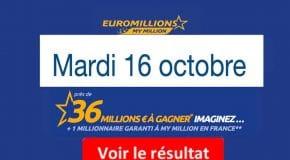 Résultat Euromillions, My Million (FDJ) tirage du Mardi 16 octobre 2018 [En Ligne]